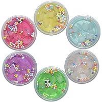 Swallowzy Fluffy Slime 2018 Newest Jelly Cube Slime Sponge Crystal Slime Fruit Coconut Mud Cloud Slime, 6 Colors