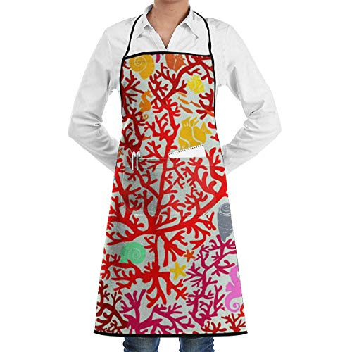 Coral Reefs and Marine Life Adjustable Bib Apron Thicker Waterdrop Resistant with Pockets Cooking Kitchen Aprons for Women Men Chef, Black - Home Essentials Reef