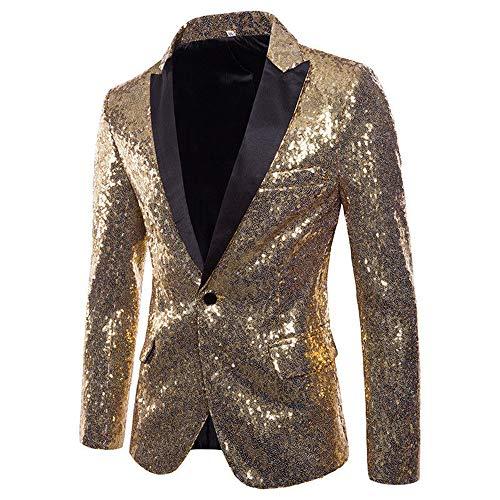Herren Shiny Pailletten Anzug Multi Farbe und Größe der Männer Hübsche Jacken-Blazer für Nachtklub, Hochzeit, Partei (XLarge, Gold)