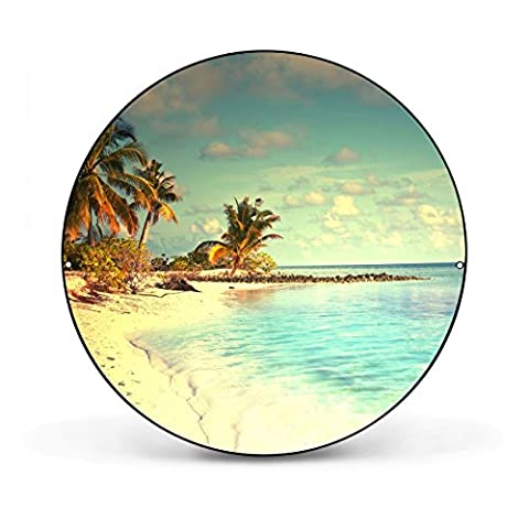 Design Magnettafel von banjado / Pinnwand magnetisch 47cm Ø / Memoboard mit Motiv Einsame Insel / Magnetwand schwarz aus Metall rund