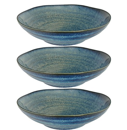 Tokyo Design Studio Jeu de 3 assiettes creuses Bleu cobalt, Ø 21 cm, En porcelaine du Japon