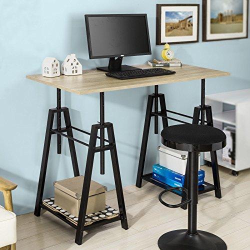 SoBuy® FWT32-N Höhenverstellbarer Schreibtisch Sitz-Stehtisch Computerschreibtisch Bürotisch Arbeitstisch Höhe:72-117cm (Arbeitsplatz-tisch)