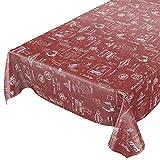 ANRO Wachstuchtischdecke Wachstuch Wachstischdecke Tischdecke abwaschbar Rot Bistro Retro Modern 180 x 140cm eingefasst