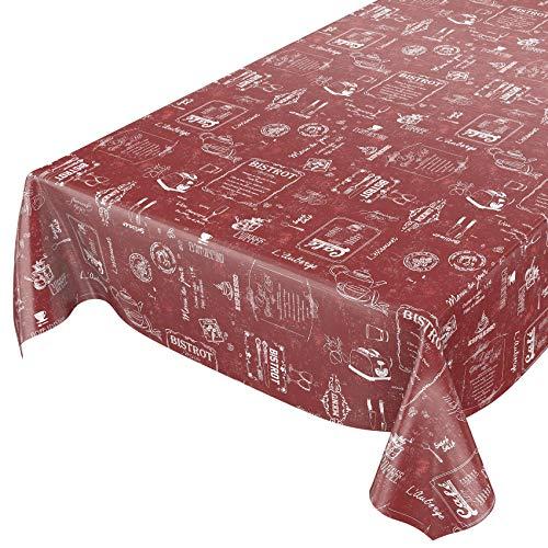 ANRO Wachstuchtischdecke Wachstuch Wachstischdecke Tischdecke abwaschbar Rot Bistro Retro Modern 220 x 140cm