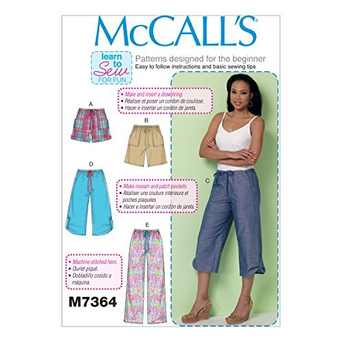 McCall's Patterns M7364 Misses' Drawstring Shorts & Pants with Pockets, Y (X-Small-Small-Medium) by McCall's Patterns (Pant Pocket Drawstring)