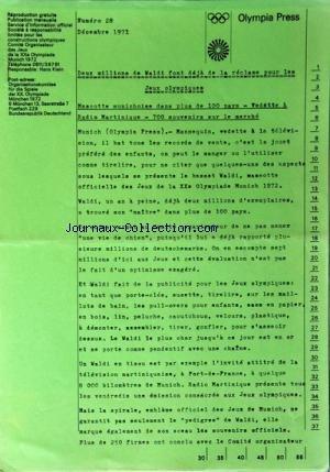 OLYMPIA PRESS [No 28] du 01/12/1971 - 2 MILLIONS DE VALDI FONT DEJA DE LA RECLAMA POUR LES JEUX OLYMPIQUES - MASCOTTE MUNICHOISE DANS PLUS DE 100 PAYS - VEDETTE A RADIO MARTINIQUE - 700 SOUVENIRS SUR LE MARCHE