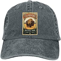 Yellowstone National Park Unisex Denim Baseball Cap Adjustable Strap Low Profile Plain Hats Outdoor Casquette Snapback Hats Asphalt 61,Snapback Hats Women Men Adjustable Baseball Cap Hats