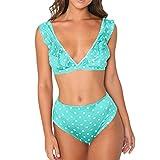 Loveso Damen Strand Meer Bikini Dot Print Badeanzug Push-Up Padded Bow Bademode Badeanzug Beachwear (S, Grün (Style F)❤️)