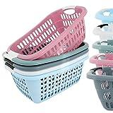 Wäschekorb Wäschekörbe Plastik Kunststsoff Wäsche Korb Farbauswahl (Gute Qualität) (Hellblau)