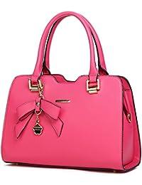 Bolso De Cuero Bolso De Hombro Para Las Mujeres De Color Puro-Rosa roja
