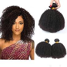 Morningsilkwig 6A Peluca Afro Ondulada de cabello humano 100 g. 1B# negro natural 71