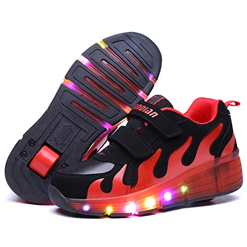 JDream LED Light Up Sneaker Training Skate Schwarz Rot