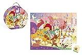 Janod - J02875 - Valisette Ronde Puzzle 54 pièces - Princesse & Carrosse