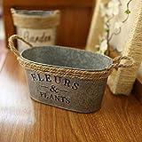 VANCORE (TM) redondo Mini metal maceta cubo de metal rústico (Soporte de jarrón con asa de cuerda de cáñamo para decoración del hogar