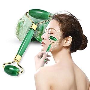 Jade-Roller Gesichts-Werkzeug-Set, 100% hochwertigste natürliche Jade für Gesichtsmassagegerät, reduziert Schwellungen, Anti-Aging Heilung, Abnehmen, verjüngt Gesicht und Nackenhaut