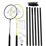 TECNOPRO Speed 200-2 Player + Net Badminton Set, Yellow/Blue, 3 1/2