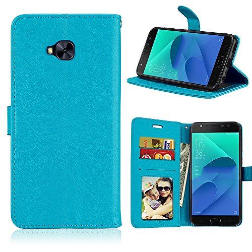 Laybomo Schuzhülle für ASUS Zenfone 4 Selfie Pro ZD552KL Hülle Ledertasche Weiches Gummi Silikon TPU Beutel Stehen Bilderrahmen Brieftasche Schale Tasche Handyhülle für ASUS ZD552KL (Blau)