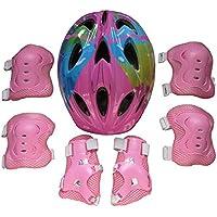 15000P 7verdicken Juego de equipo de protección Rodilleras Coderas Casco para 5–13Años Niños, color Pink Flower, tamaño 30 x 20 x 10 cm
