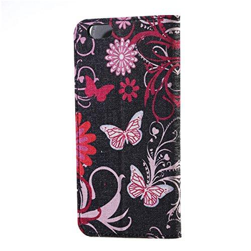 """HB-Int 4 in 1 PU Leder Tasche Windows View Case für iPhone 6 / 6s ( 4.7"""" ) Weltkarte Flip Book Style Lederhülle Standfunktion Shell Kartenfächer Bunt Muster Handytasche Schutzhülle Rundum Ledertasche  Rosa Schmetterling"""