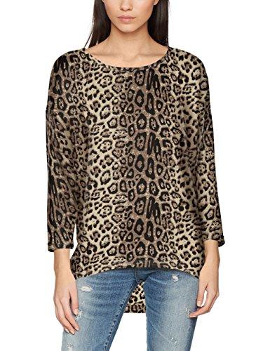 ONLY NOS Damen Pullover Onlelcos 4/5 Aop Top Jrs Noos, Grau (Pumice Stone Aop:Leo Print), 36 (Herstellergröße: S)