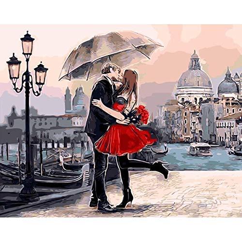 zlhcich Schlafzimmer Landschaft Blumendekoration Malerei Venedig Kuss 40 * 50cm -