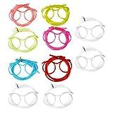 com-four® 10x Brillen Trinkhalm in verschiedenen Farben, Strohhalm im Brillen-Design (Brille bunt + transparent - 10 Stück)