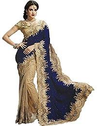 Krisha Fashion Women's Net Saree With Blouse Piece (178_Blue)