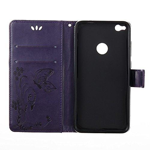 Solid Color Faux Leder Bookstyle Brieftasche Stand Case mit geprägten Blumen & Lanyard & Card Slots für Huawei P8 Lite 2017 und P9 LITE 2017 ( Color : Red ) Purple