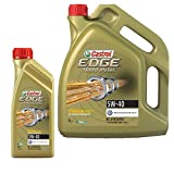 Castrol EDGE Turbo Diesel 5W-40 Motoröl 1 L + 5 L = 6 Liter Motoröl Motorenöl Motor Motoren Öl; Spezifikationen/Freigaben: SAE 5W-40; ACEA C3; API SN/CF; VW 502 00/ 505 00 / 505 01; BMW Longlife-04; MB-Approval 229.31/ 229.51/ 226.5; Meets Ford WSS-M2C917-A; Renault RN0700/0710; Meets Fiat 9.55535-S2; Dexos2** Ersetzt GM-LL-B-025 and GM-LL-A-025 : GB2C0923082