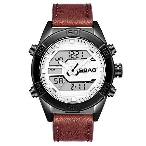 YEARNLY Herren Uhren Männer Wasserdicht Sport Chronograph Schwarz Leder Armbanduhr Mit Kalender Wecker Funktionelle elektronische Uhr