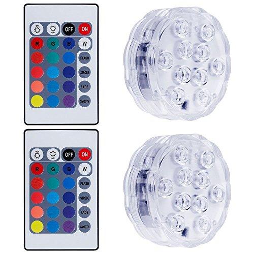 Lictin 2 Unterwasser Licht mit Fernbedienung und 6 Batterien RGB Multi Farbwechsel Wasserdichte LED Leuchten für Vase Base Aquarium Teich Halloween Party Weihnachten
