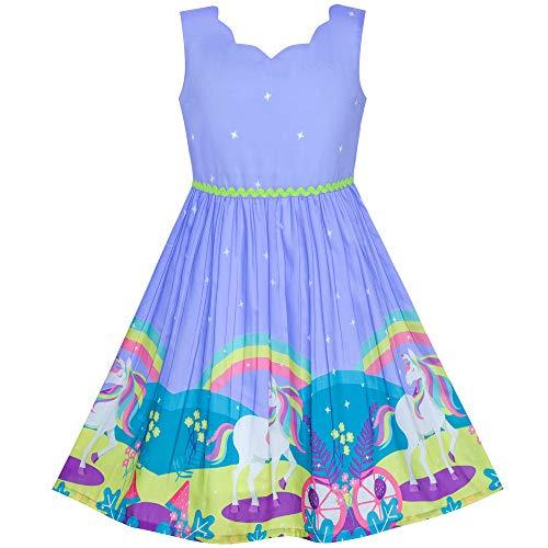 Mädchen Kleid Einhorn Regenbogen Halloween Kostüm Prinzessin Gr. 134