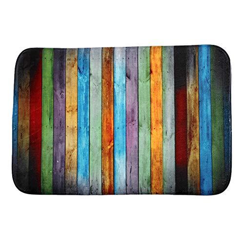 Wamnu Custom Colorful Wood Vintage Pattern Beautiful Rainbow Mats Floor Carpet Interior/Outdoor/Front Door/Bathroom Mat Rubber Non-Slip Doormat (23.6 L x 15.7 W)