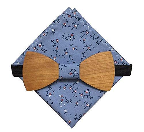 [Garanzia a vita] Papillon in legno fatto a mano tessuto Hanami blu + fazzoletto da taschino