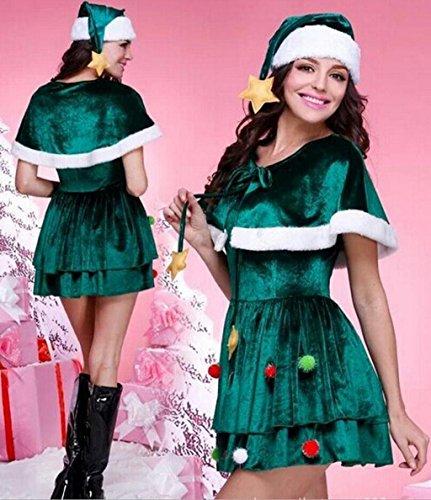 Marcus R Caveggf Frauen Miss Santa Kostüm Grüner Weihnachtsanzug Elfen Kleidung Party zusammenkommen Maskerade Bar - Santas Sexy Elfen Kostüm