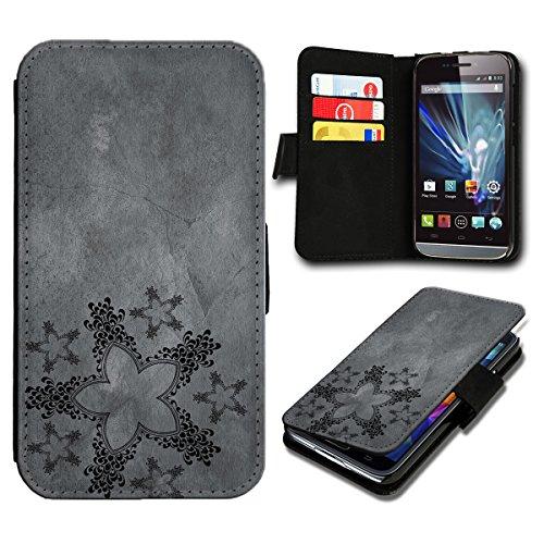 Book Style Wiko Getaway Premium PU-Leder Tasche Flip Brieftasche Handy Hülle mit Kartenfächer für Wiko Getaway - Design Flip SV123