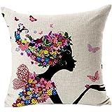 Generic Fundas De Cojines Florales Foche Algodón Estampado De lino Sofá Vintage almohada (negro)