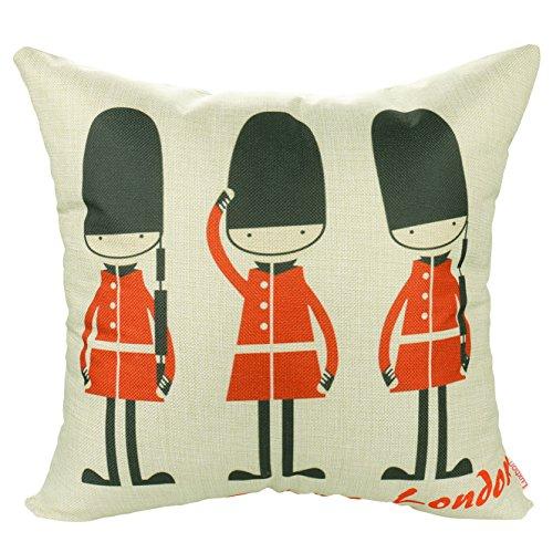 Luxbon Funda Cojines 45x45 Sofá London Soldados Cartoon Lino Duradero Fundas de...