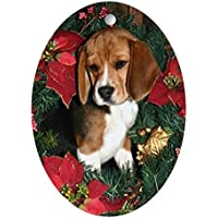 CafePress–Cucciolo di Beagle Natale ovale, vacanza decorazione natalizia