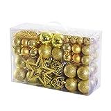 Yorbay bolas de Navidad incluyendo la cadena de perlasy la estrella del árbol (Dorada)