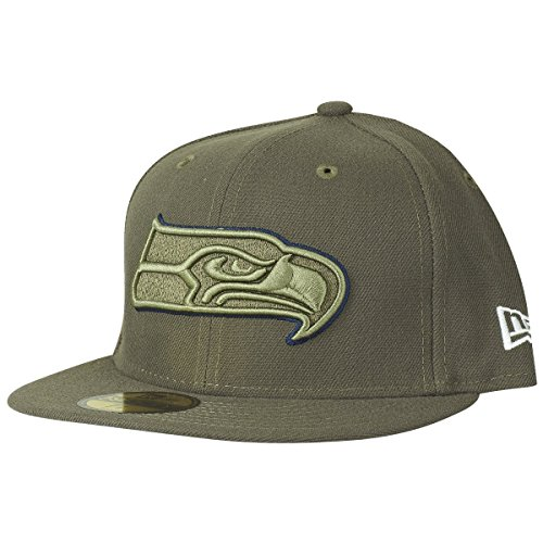 Service To Salute (New Era 59Fifty Cap - Salute to Service Seattle Seahawks oliv , Gr. 7 1/2 - (59,6cm))