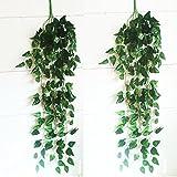 2 Stück Hängende Deko Blumen Efeu Girlande Efeubusch Efeugirlande Efeuranke künstliche Kunstpflanze Blätter