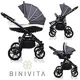 Binivita® Indigo Black Collection Matt Kinderwagen Kombikinderwagen Kombi 3 in 1 + Babyschale + Buggy-Kinderbuggy-Sportwagen + Babywagen 14-Teile Set inkl. Kinderwagentasche - Grey-Indigo