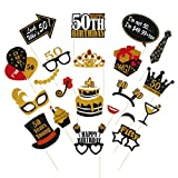 Amosfun 50th Birthday Photo Booth 21Pcs 50th Birthday Party Supplies Bastone in Legno Photo Puntelli No Need to DIY