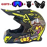 QJXF Adult Motorrad Motocross Helme-Full Face Helmet for Man and Woman-Goggles + Wind Mask + Cross Country Handschuhe (Dot Certified + 8 Style),5,M