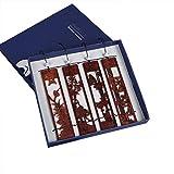 1 Set Di Segnalibri In Legno Massello Con Segnalibri In Stile Classico Segnalibri Con Incisioni In Stile Cinese Classico Meilan In Bambù E Crisantemo In Legno (colore : Brown)