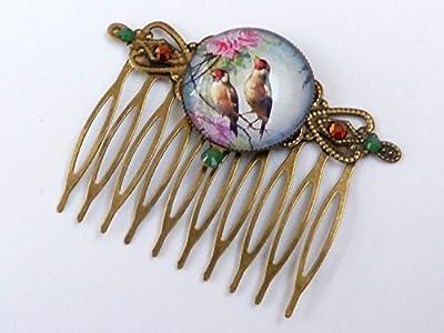Peigne avec un couple d'oiseaux, peigne à cheveux de printemps