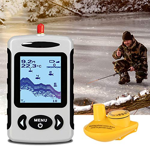 H&L Wireless Portable Fish Finder, 40M/120FT Sonar Depth Finder Fishing Lure Waterproof Echo Sounder Fishing Transducer Detector Fish Ice Fishing Sonar Ice Transducer