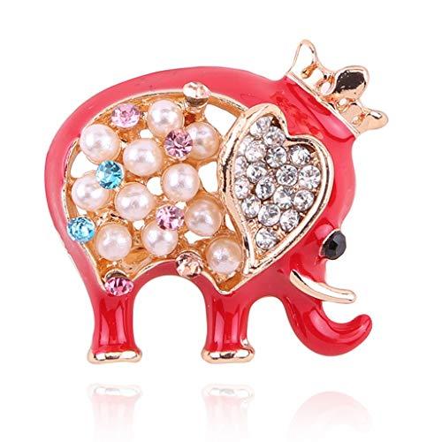DTZH Elefantes Broche Elefante Claro Cristal Diamante de imitación Animal Reino Broche...