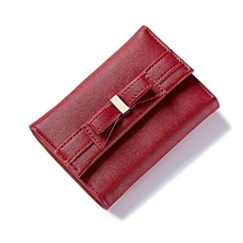 Portafoglio Donna - Borse in Pelle di Cuoio Dell'unità di Elaborazione Delle Borse del Supporto Delle Signore Dell'inarcamento Della Borsa Della Borsa Della Frizione (Beige) Rosso